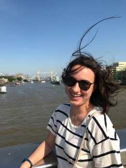 On London Bridge, a bit windy